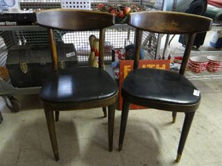 Antique Wooden Chairs With Vinyl Seats