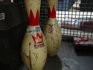 2 Brunswick Red Crown Bowling Pins