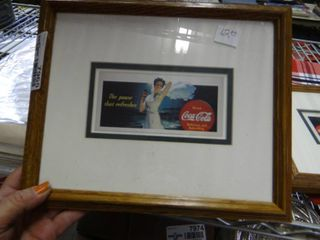 2 Framed Coca Cola Advertisements