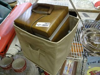Cloth Basket and Vinyl Box Full of 8 Track Tapes