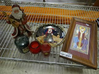 Santa Clause Decor  Candles and Religious Art