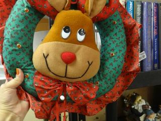 Plush Reindeer Wreath