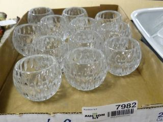 Set of 12 Cut Glass Candle Holders