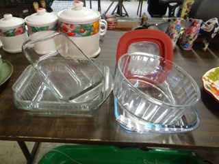 lot of Clear Glass Baking Dishes