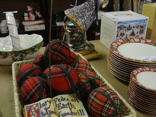 Wicker Basket  Plaid Fabric Ornaments  and Religious Decor