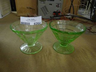 Pair of Vaseline Glass Sorbet Bowls
