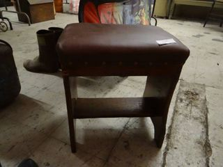 Small Wooden Stool With Padded leather Top