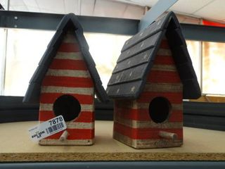 Two Patriotic Themed Bird Houses
