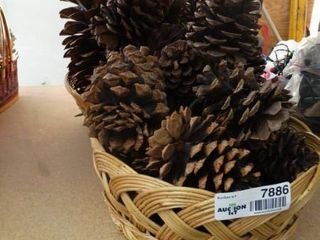 Two Wicker Baskets with Pine Cones