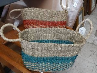 Two Baskets Made of Woven Twine