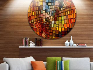 Designart  Dreaming of Stained Glass  Abstract Glossy Metal Wall Art