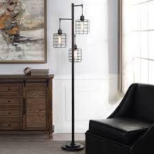 Carbon loft Memnet 3 light Caged Cylinder Wire Pendant Floor lamp  Retail 159 49 black