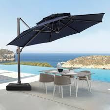 crestlive products 12 ft patio luxury cantilever octangonlar umbrella navy blue