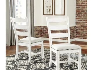 Valebeck Farmhouse ladder Back Chair   Set of Two   White  Retail 212 49