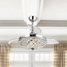 Modern Chrome Crystal 42 inch Ceiling Fan 6 light Chandelier   Retail 212 00