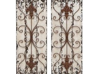 Wood and Metal Wall Decor Panel  Set of 2