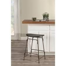 Carbon loft Rutherford Black Wood and Old Bronze Metal Stationary Backless Counter Stool  Retail 108 49