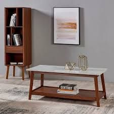 Versanora   Kingston Coffee Table   Faux Marble Walnut  Retail 191 49