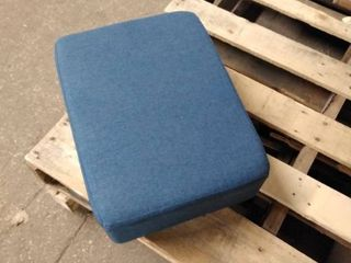 blue fabric ottoman small with legs