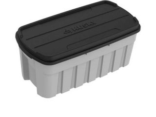 husky 37 gallon heavy duty totes extra large handles cold weather resistant snap tight lid 30 2 in w X 19 2 in l X 18 3 in H
