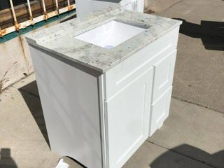 White Vanity with Marbel top 31w x 22l x 36H