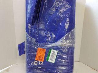 blue plastic tarp with metal tie down rings 12wx16l