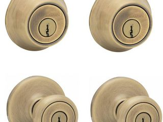 Kwikset 242 Tylo Keyed Entry Knob and Single Cylinder Deadbolt Project Pack in Antique Brass