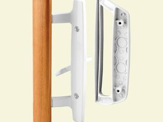 Prime line Products C 1204 Sliding Door Handle Set  Wood Handle  White Diecast