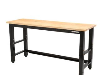 Husky 6 ft. Adjustable Height Solid Wood Top Workbench