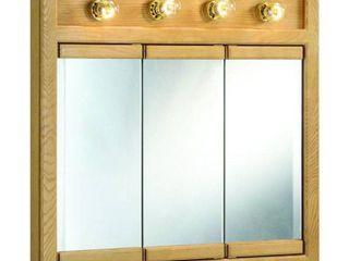 Design House 530600 Richland 4 light Tri View  3 door  Wall Cabinet 30  Nutmeg Oak