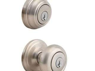 Kwikset 992 Juno Entry Knob and Double Cylinder Deadbolt Combo Pack featuring SmartKeyAr in Satin Nickel