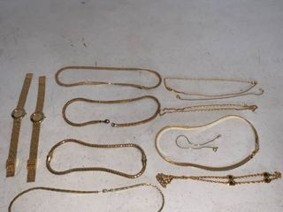 lot of Gold Tone Bracelets Necklaces Watches
