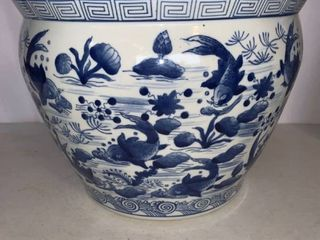 large Blue and White Planter Decorated With Koi Fish