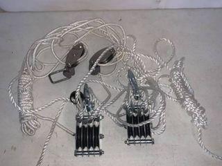 Pair of Metal Pulleys With Rope