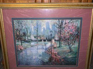 City Park Scene Art Gilded Wood Frame