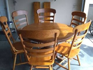 Nice Dining Table With 6 Chairs and 2 leaves In Good Condition Could Use Some TlC
