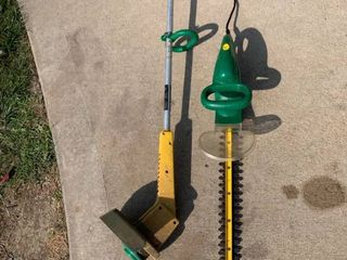 Weed Eater 18 Inch Electric Hedge Trimmer and 10 Inch Trimmer Working