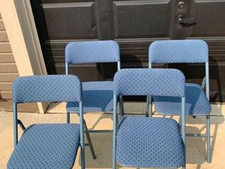 Set of 4 Padded Metal Folding Chairs