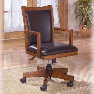 Office Chair  Signature Design by Ashley Cross Island Home Office Swivel Desk Chair   Medium Brown