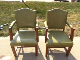 lot Of 2 Vintage Wood And Vinyl Tack Head Chairs In Good Condition Could Use Some TlC