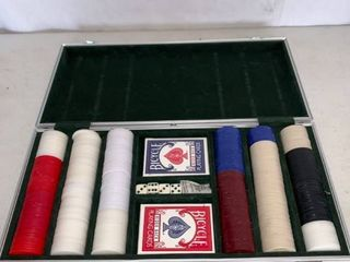 Poker Chip Set With Cards and Dice in Metal Case