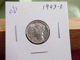1943 D MERCURY DIME MS63