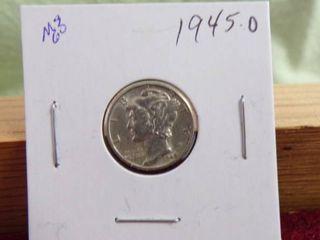 1945 D MERCURY DIME MS60