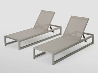 Metten Outdoor Mesh Chaise lounge  Set of 2  by Christopher Knight Home   Slight Damage  See Pictures  Retail 505 99