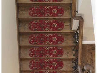 Ottomanson Ottohome Collection Red Floral Oval Stair Tread  Set of 7    8 5  x 26