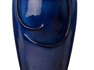 Demta 20 5  Cobalt Blue Ceramic Fountain with lED light by Havenside Home  Retail 148 99