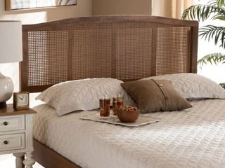 Queen Sized Carson Carrington Ugglom Wood and Synthetic Rattan Headboard  Slight Damage  See Pictures  Retail 172 49