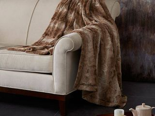60 x70  Marselle Oversized Faux Fur Throw Blanket Tan