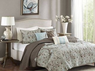 leona Paisley Quilted Coverlet Set  Full Queen  Brown   6pc
