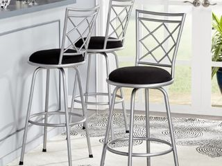 TMS Avery Adjustable Height Bar Stool  Black   Silver  Set of 3